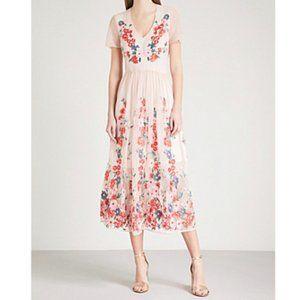 Maje Raphael floral embroidered tulle midi dress